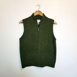 Pendleton 100% lamb's wool green zip sweater vest